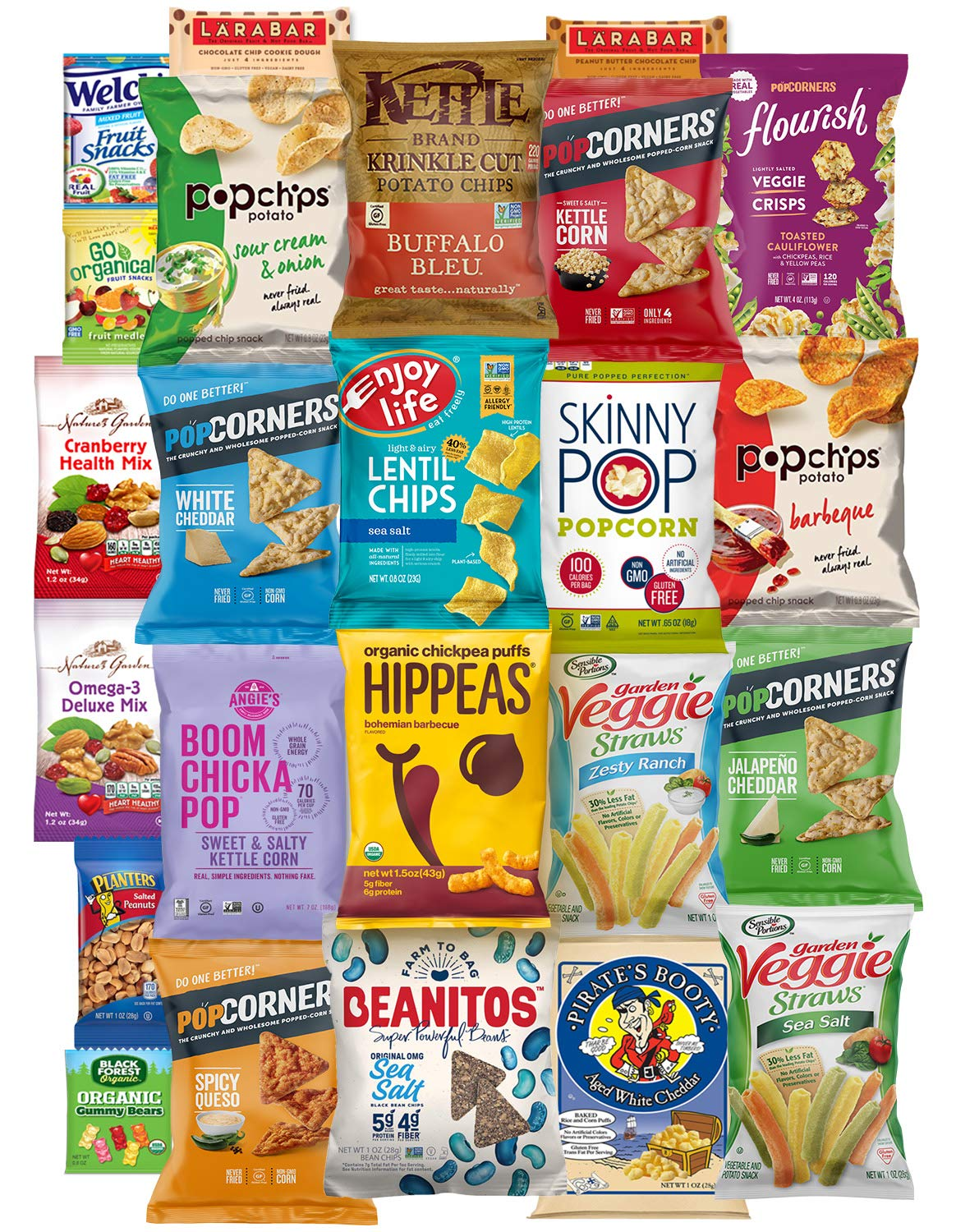 Gluten Free Healthy Snacks, Mixed Bag of Treat Snacks Includes Veggie, Popcorn and Gummy Snacks Care Package (24 Count)