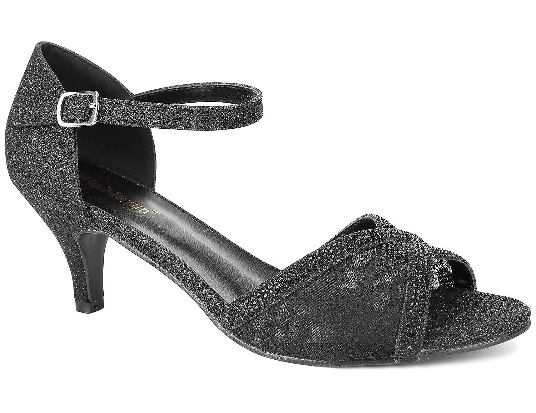 Black MaxMuXun Women shoes Glitter Ankle Strap Open Toe Kitten Heel Pumps