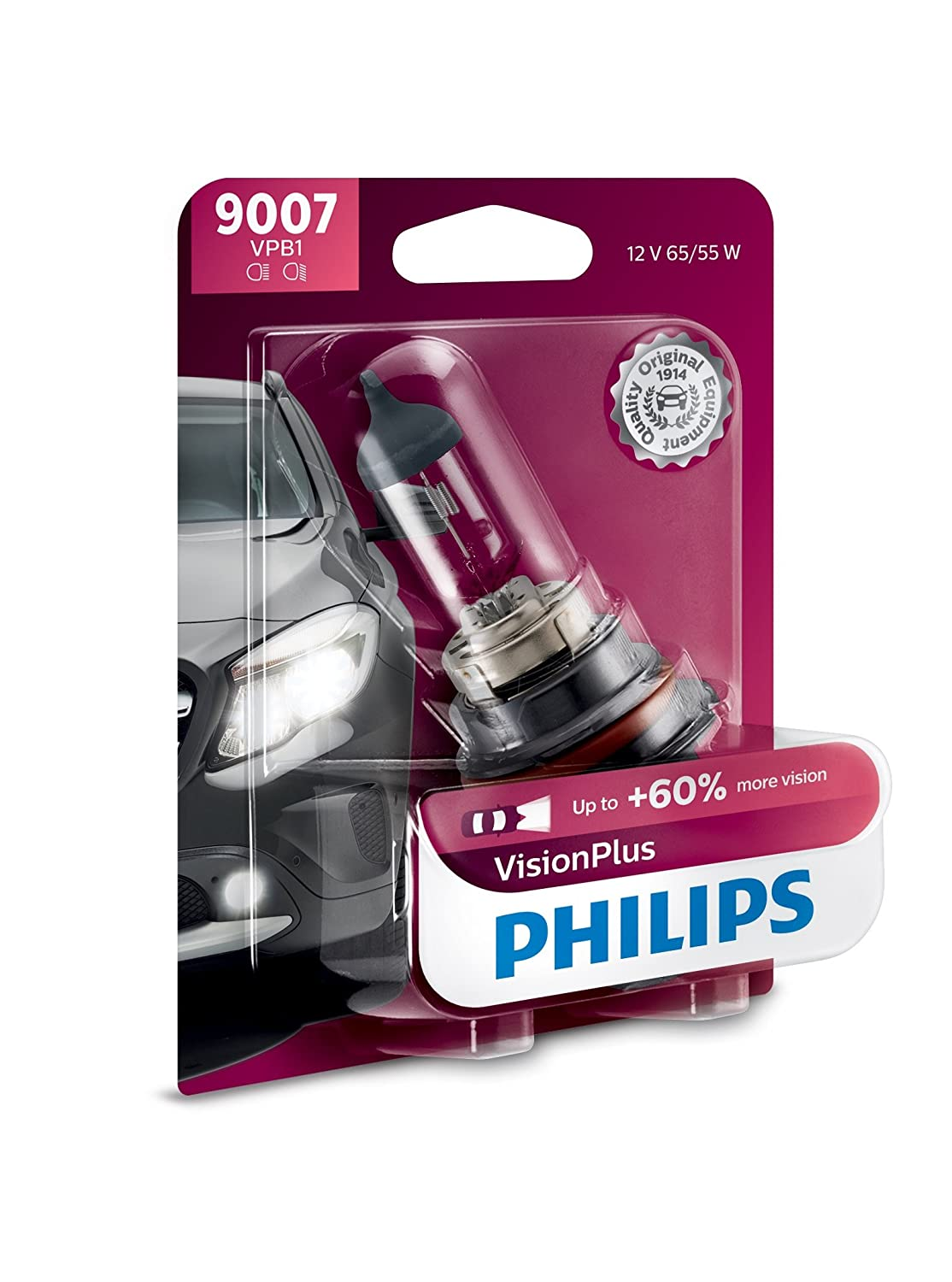 Philips 9008 VisionPlus Upgrade Headlight Bulb with up to 60/% More Vision 1 Pack