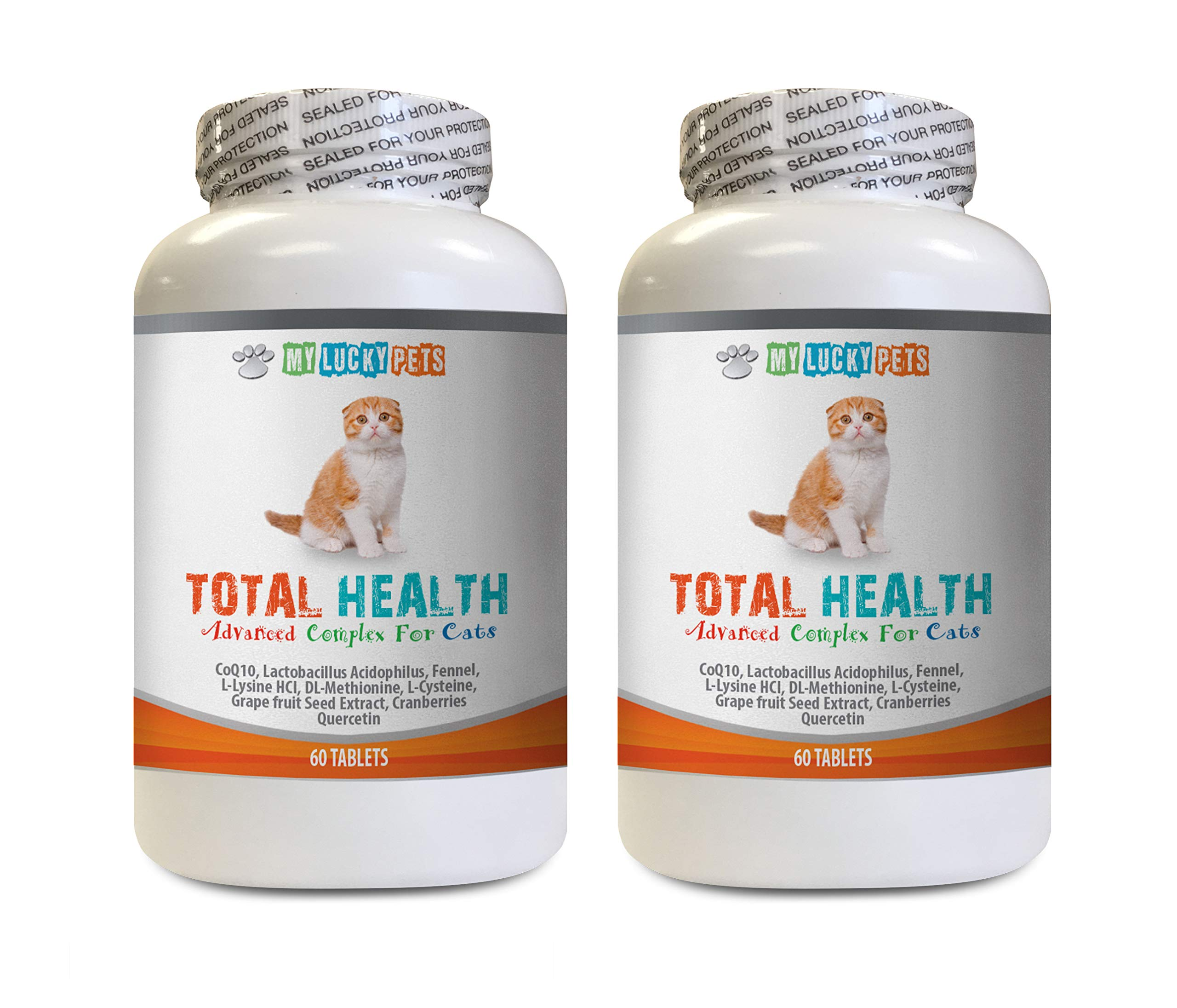 MY LUCKY PETS LLC cat Urinary Tract Health - CAT Total Health Formula - Hair Skin Teeth Eye Urinary Health - Immune Boost - Vitamin Supplement for Cats - 2 Bottles (120 Tablets) by MY LUCKY PETS LLC