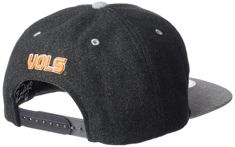 Charcoal Grey Adjustable NCAA Zephyr Tennessee Volunteers Mens Bespoke Melton Ol Snapback Hat