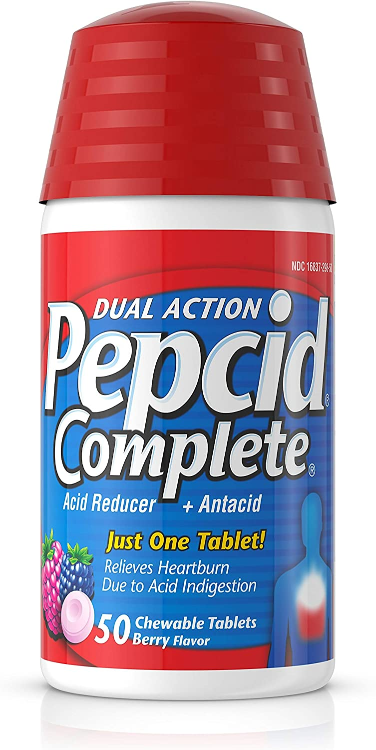 Pepcid Complete Acid Reducer + Antacid Chewable Tablets for Heartburn Relief, Berry Flavor, 50 ct.: Health & Personal Care