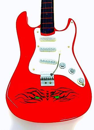 Guitarra en miniatura decorativa Guitarra Guitar Fender 24 cm Rojo Tiger Eye # 141: Amazon.es: Instrumentos musicales
