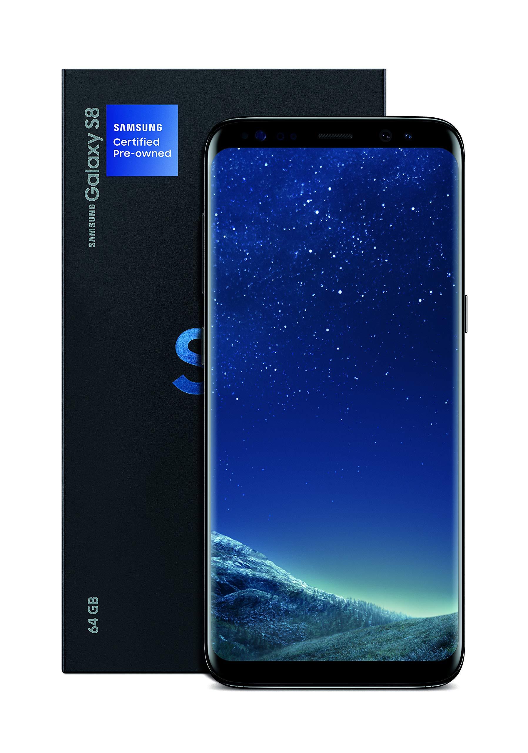Samsung Galaxy S8 Certified Pre-Owned Factory Unlocked Phone – 5.8Inch Screen – 64GB – Midnight Black (U.S. Warranty)(Renewed)