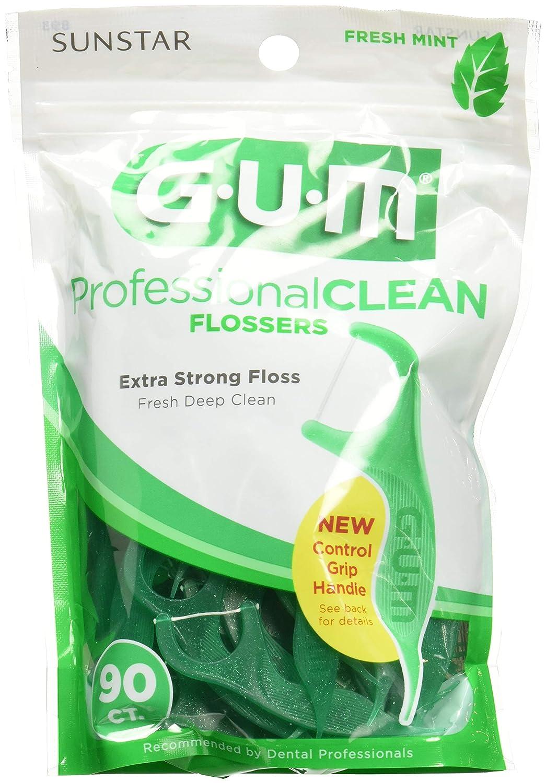 Gum Professional Clean Flossers, Fresh Mint 90 ea (Pack of 3) G-U-M 70942302395