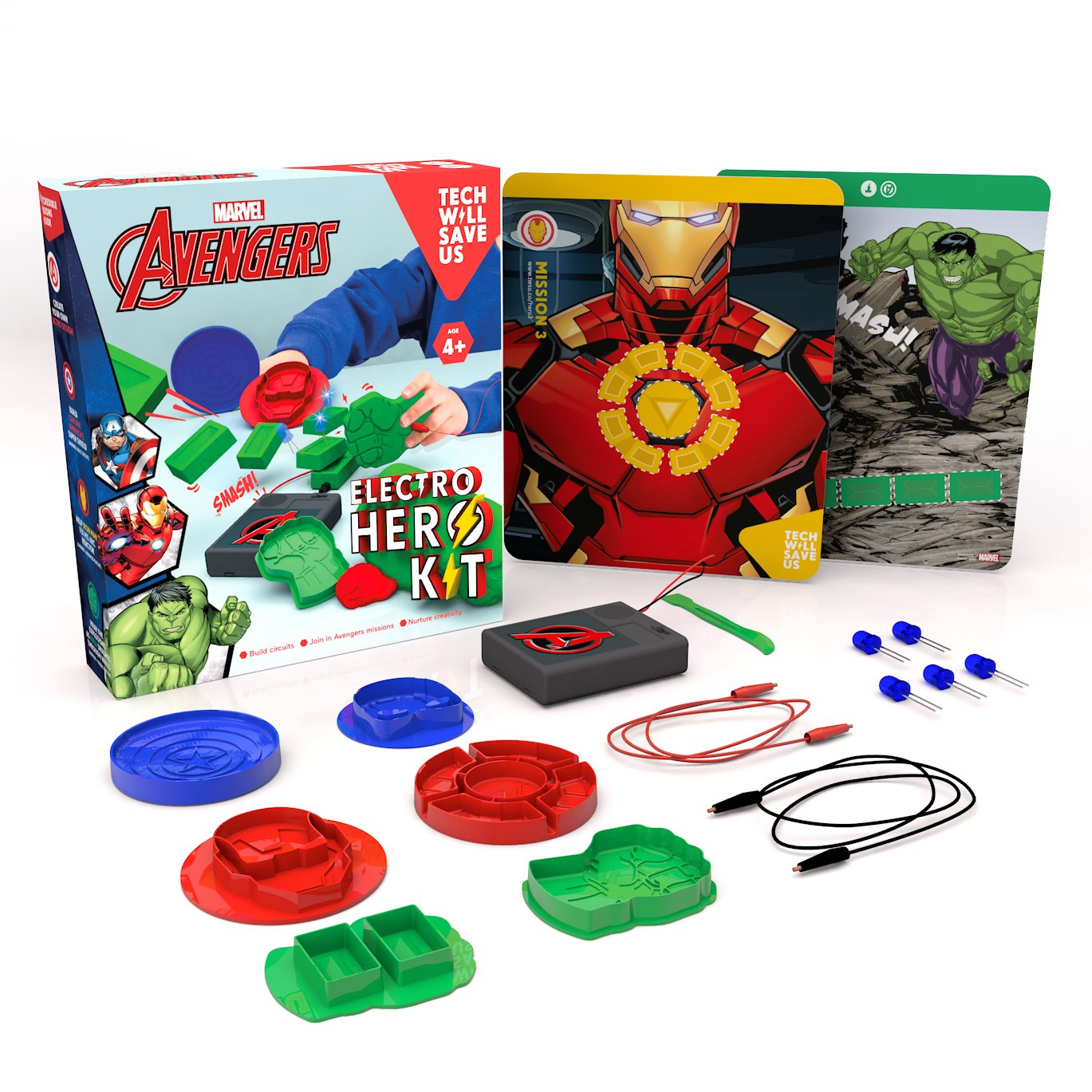 Tech Will Save Us Avengers Electro Hero Kit Educational Dough Stem Iron Man Circuit Superhros Marvel Comics Logostore Toy For Ages 4 Toys Games