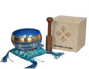 Tibetan Singing Bowl Set By Dharma Store - With Traditional Design Tibetan Buddhist Prayer Flag - Handmade in Nepal (Blue with box)