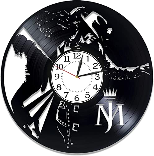 Kovides King of Pop Birthday Gift Idea Michael Jackson Vinyl Clock 12 Inch Moonwalker Vinyl Record Wall Clock Music Handmade Clock Michael Jackson Original Home Decor