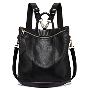 76bac19656fcc Rucksack Damen Elegant Leder Schulrucksack Umhängetasche Handtaschen  Schulranzen Schultasche Daypack Schultertasche große größen Schwarz