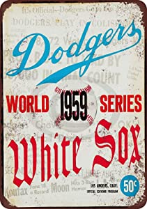 AMELIA SHARPE Tin Sign Retro-1959 World Series Dodgers and White Sox-Wall Decoration Home bar Restaurant Garage Cafe Art Metal Sign 12x8 inches