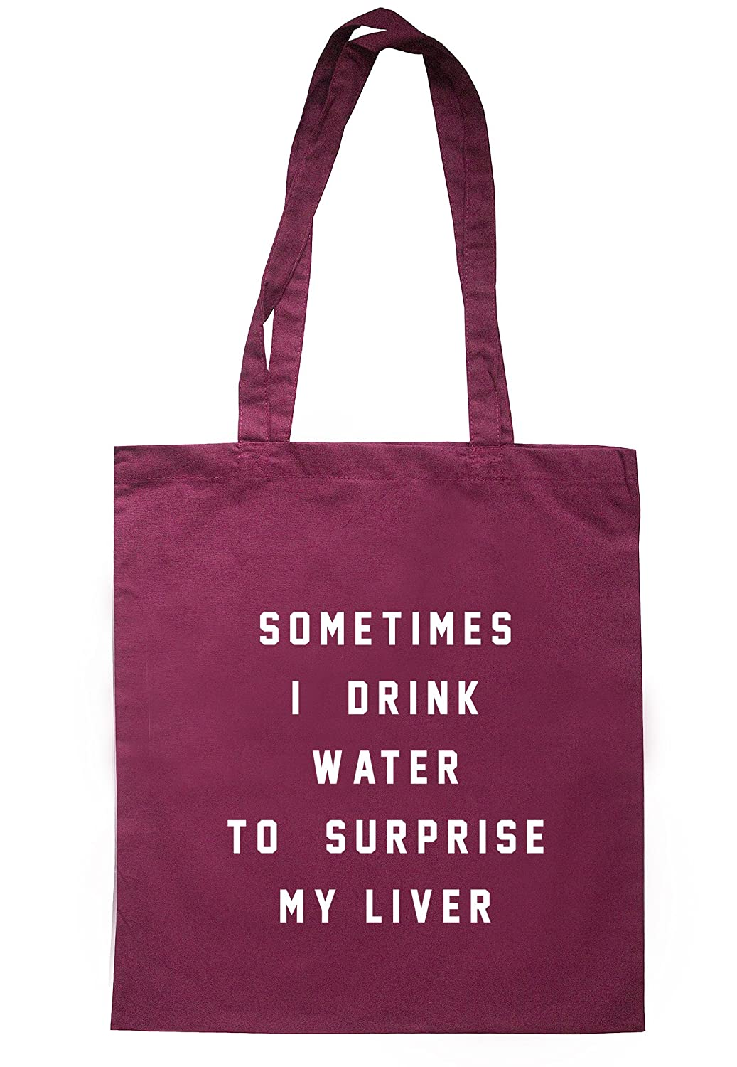 illustratedidentity Sometimes I Drink Water To Surprise My Liver Tote Bag 37.5cm x 42cm with long handles TB0830-TB-NV