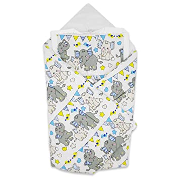 BlueberryShop manta de algodón para bebés con almohada | Saco de dormir para bebés recién nacidos | Regalo perfecto para Baby Shower | 78 x 78 cm | ...