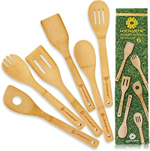 Kitchen Utensil Set Wooden Spoons - 6 pcs Bamboo Wooden Spoons & Spatula Cooking Utensils