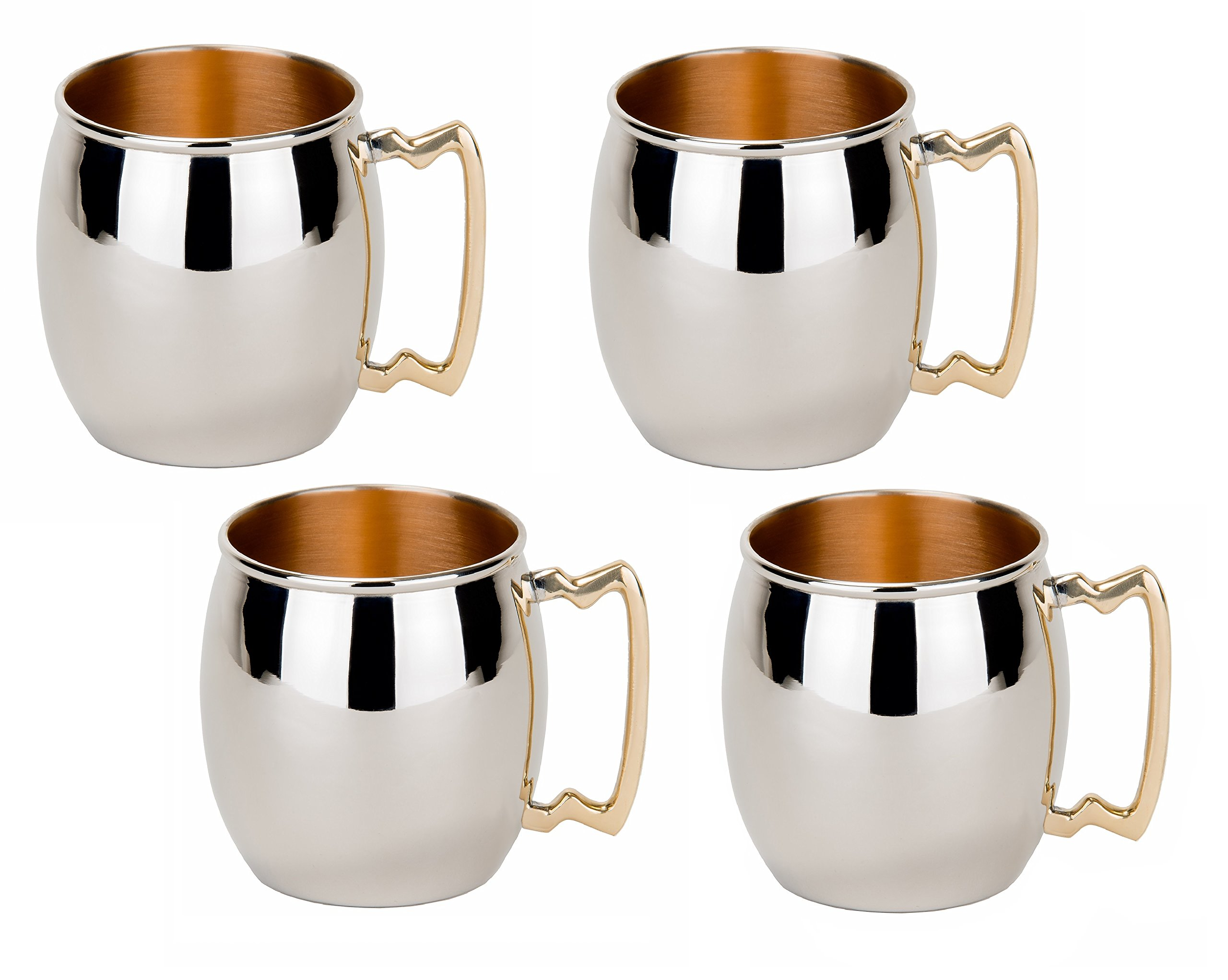 Old Dutch Inside-Out Moscow Mule Mugs, 16 oz, Set of 4, Nickel