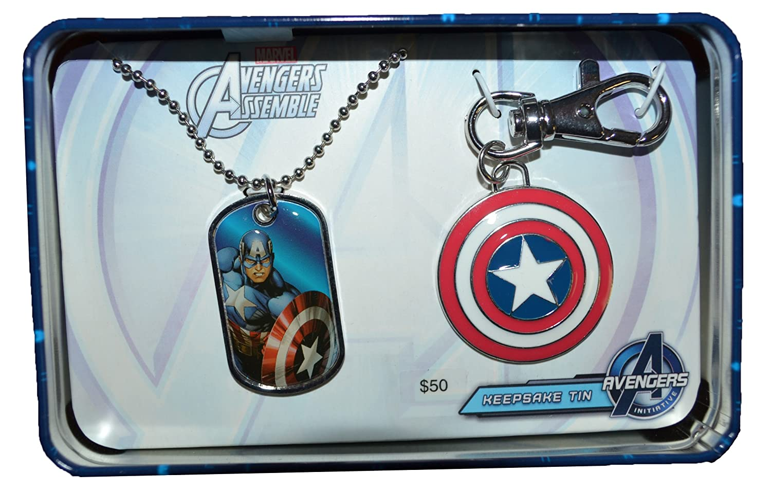 Amazon.com: Marvel Captain America Dog Tag and Key Chain ...