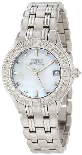 INVICTA 266 - Reloj analógico de cuarzo para mujer, correa de acero inoxidable color plateado