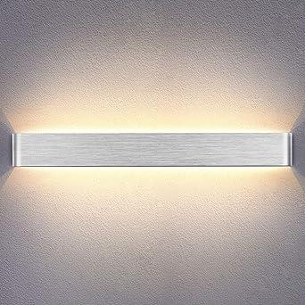Yafido Aplique Pared Interior LED 90CM Lámpara de pared Plata Cepillado 30W Blanco Cálido 3000K para Salon Dormitorio Sala Pasillo Escalera AC 220V: Amazon.es: Iluminación