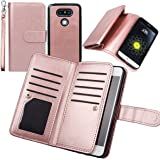 Case for LG G5,xhorizon TM FLK Premium Leather Folio Case Wallet Magnetic Detachable Removable Wristlet Purse Soft Multiple Card Slots Cover for LG G5 (Rose-gold)