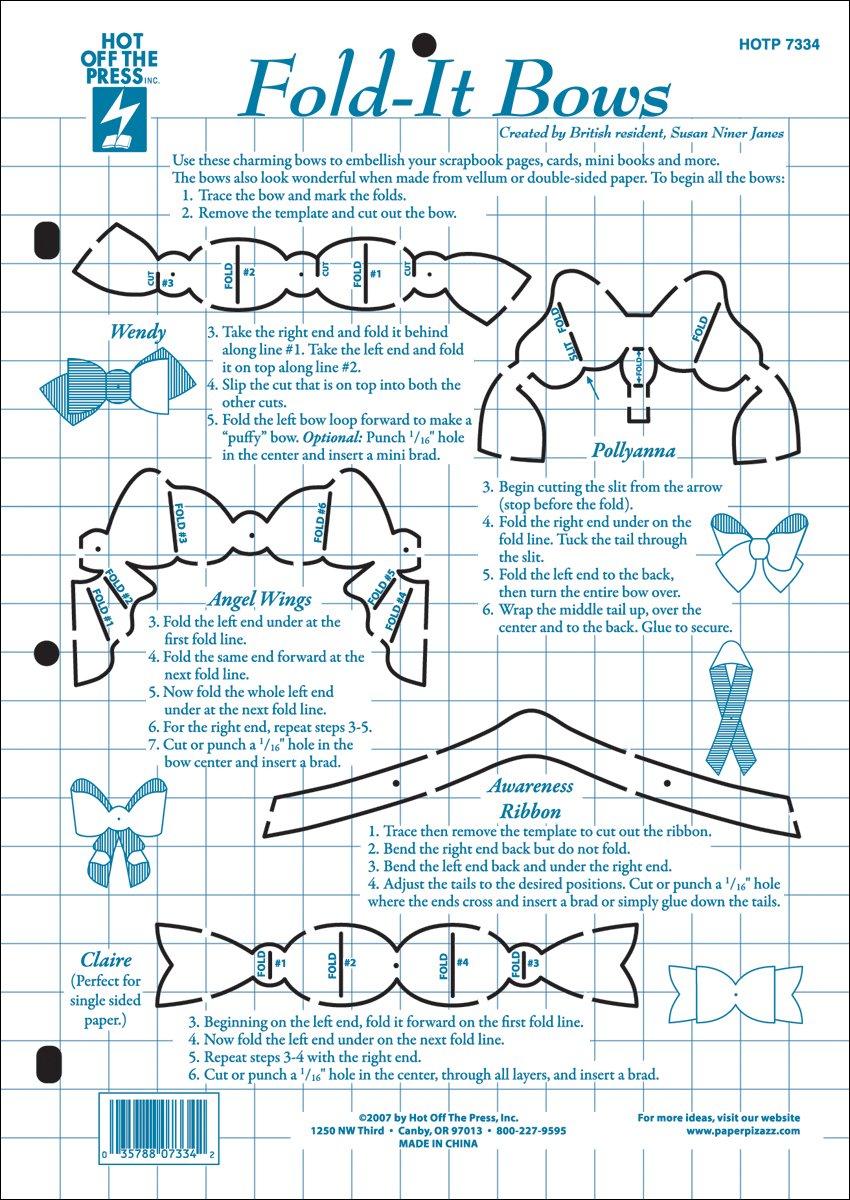 Hot Off The Press Paper Pizazz Plastic Templates Fold It Bows