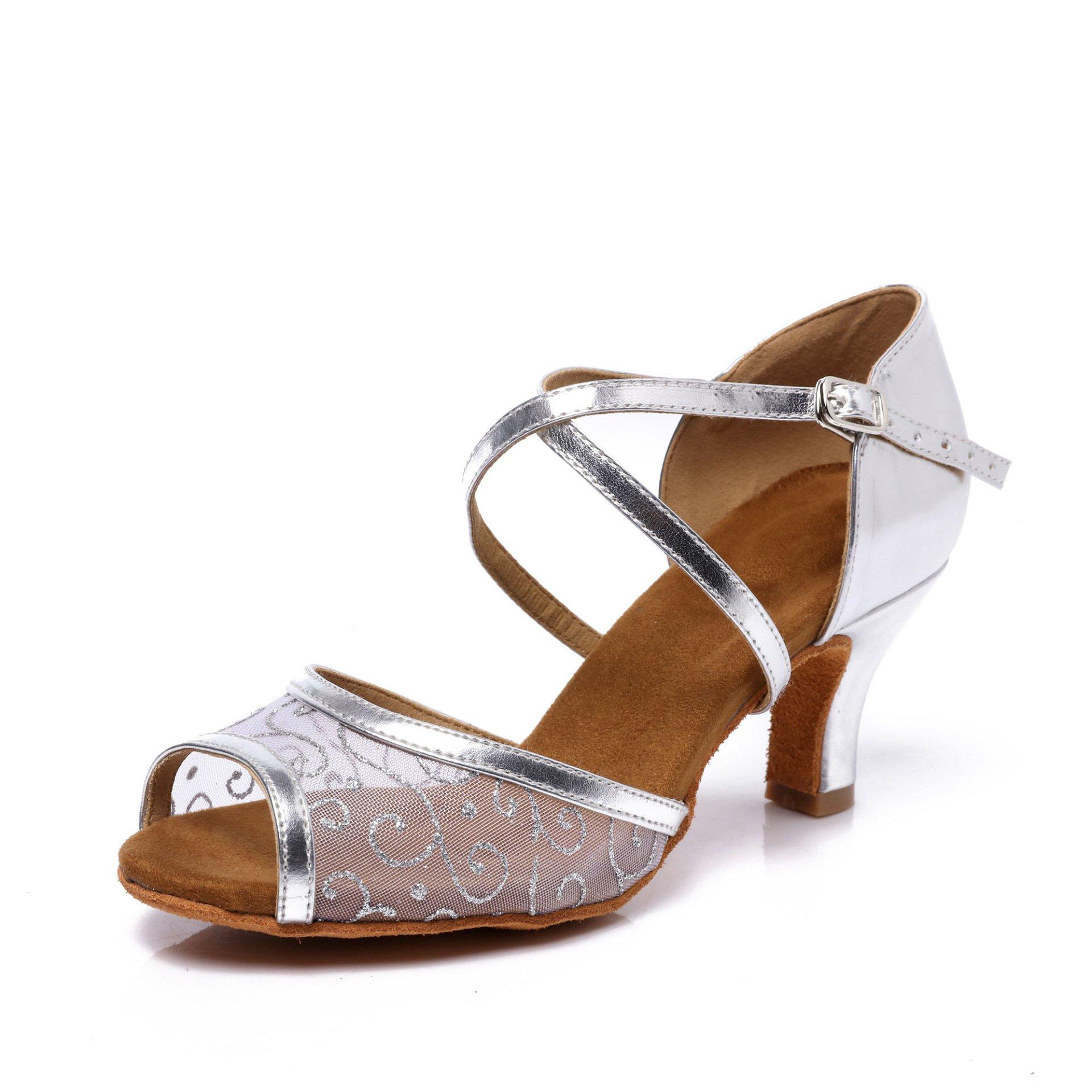 CLEECLI Women Ballroom Dance Shoes for Latin Salsa Tango Cross Strap 2.5'' Heel ZB05(7.5,Silver)