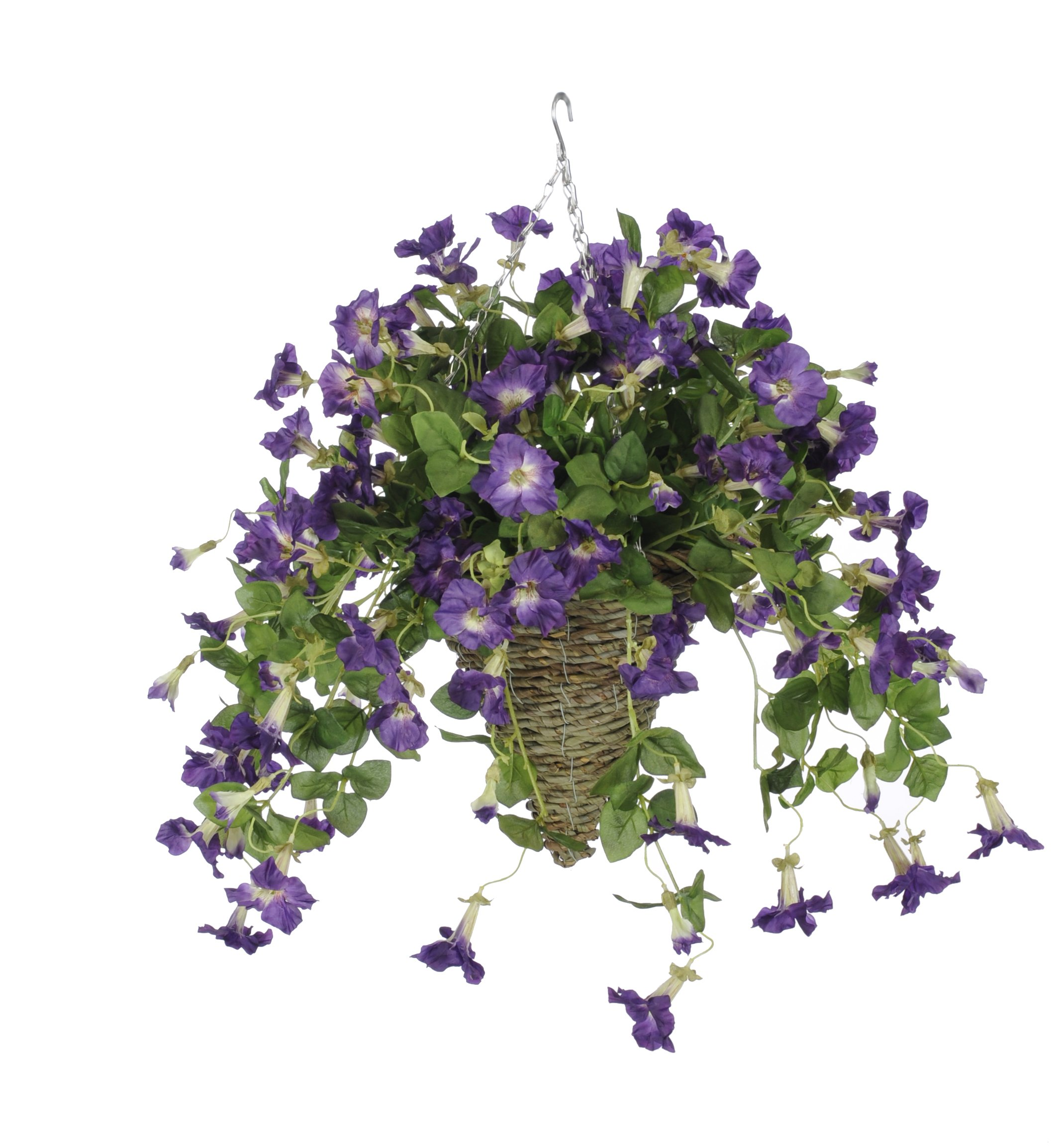 Artificial Purple Petunia in Beehive Hanging Basket by House of Silk Flowers