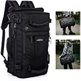 Overmont Hiking Backpack Daypack Canvas Travel Backpack Vintage Laptop Backpack Rucksack Large Capacity Hiking Shoulder Bag Suitcase Duffle Bag