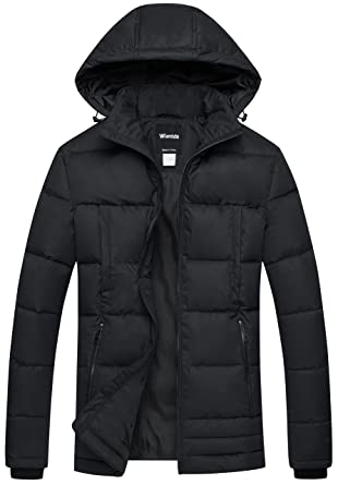 aaa50a88f Wantdo Men's Windproof Puffer Coat Insulated Quilted Jacket with Hood Black  S
