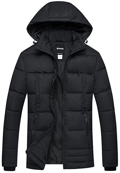 cb2ac14a1 Wantdo Men's Puffer Coat Insulated Windproof Quilted Jacket with Fixed Hood