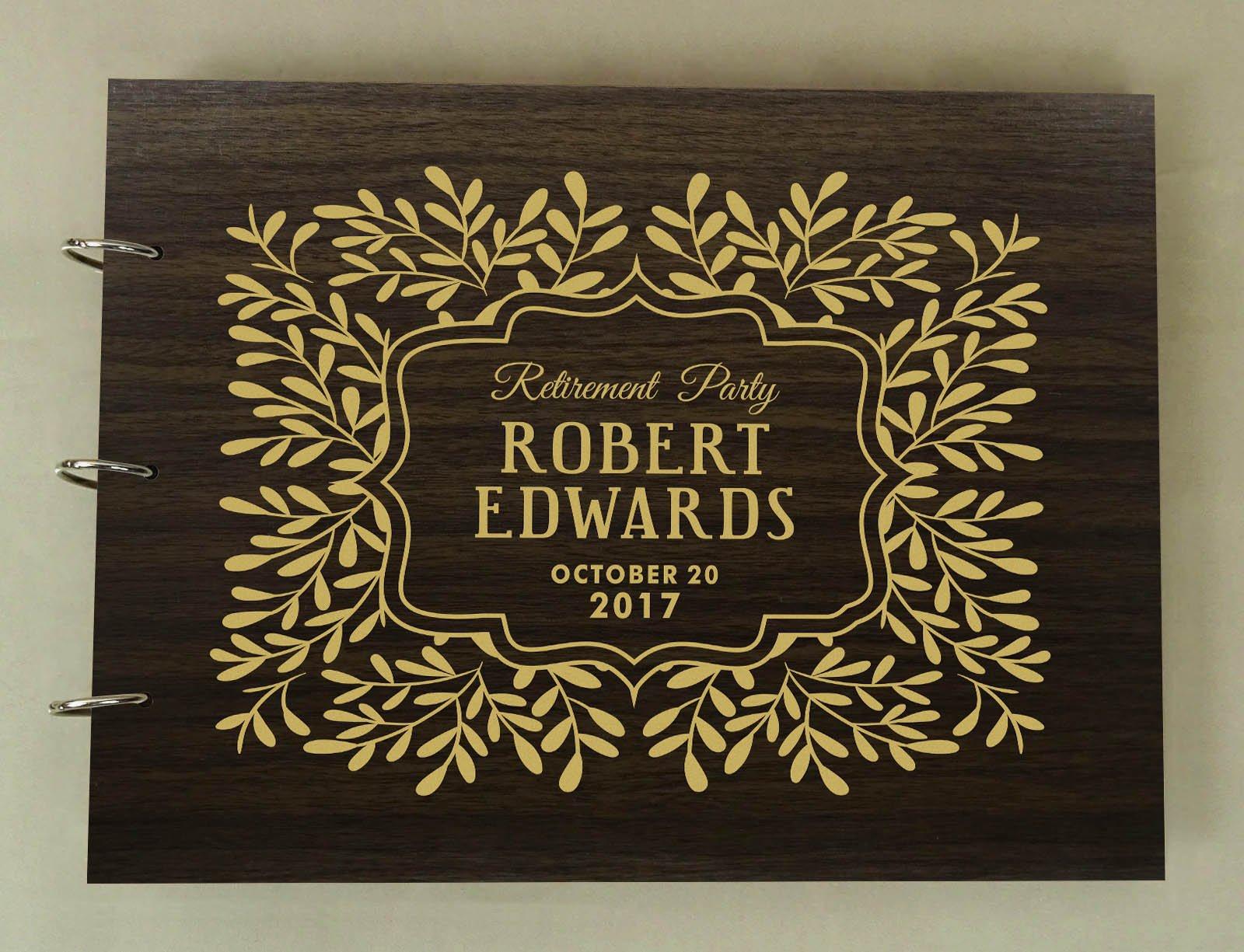 Handmade Custom Guest Book Retirement Party Wood Engraved Photo Album Scrapbook