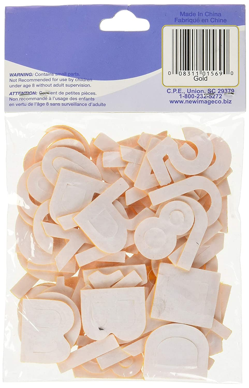Gold 1-Inch Numbers and Letters 80-Pack New Image Group 1NL-1569 Craft Supplies Stick It Felt