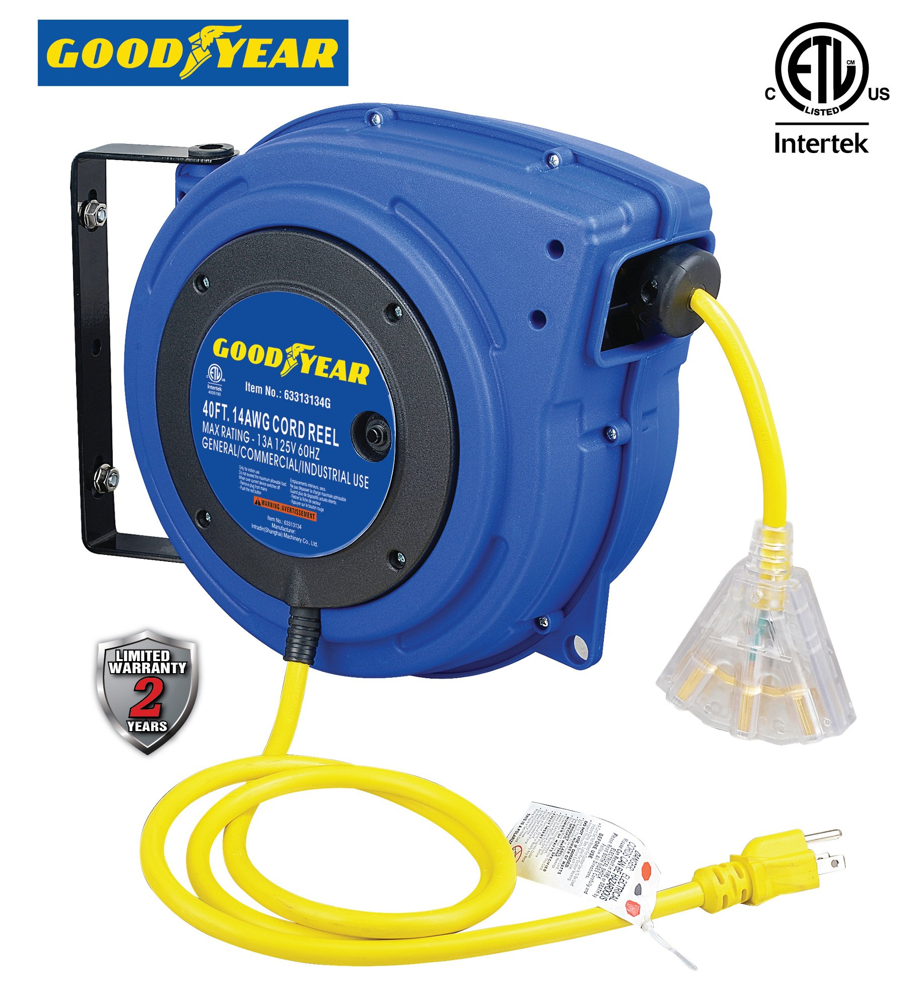 Goodyear Extension Cord Reel, 40 ft., 14AWG/3C SJTOW, Triple Tap with LED Lighted Connector, Heavy Duty by Goodyear