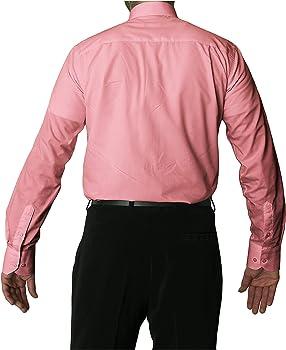Camisa de manga larga sin arrugas con cuello clásico para hombre, varios colores disponibles rosa 48: Amazon.es: Ropa y accesorios