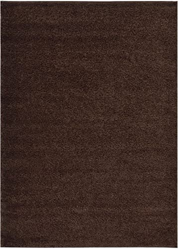 Shaggy Collection Solid Color Shag Area Rugs Brown