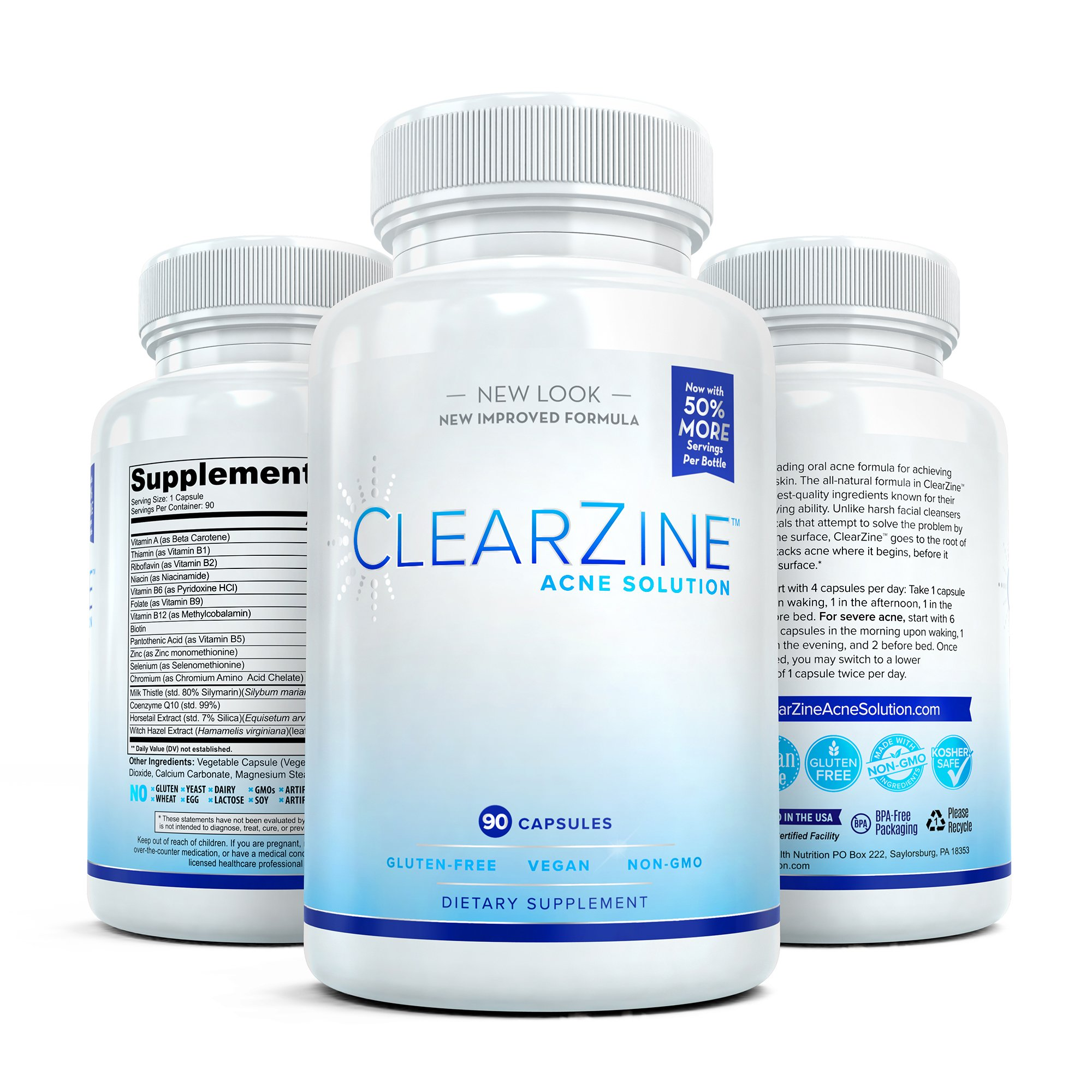 ClearZine Acne Pills for Teens & Adults   Clear Skin Supplement, Vitamins for Hormonal & Cystic Acne   Stop Breakouts, Oily Skin with Milk Thistle, Pantothenic Acid & Zinc, 2 Bottles, 90 Caps Each by ClearZine (Image #8)