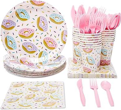 Amazon.com: Juvale Donut suministros para fiestas (sirve 24 ...
