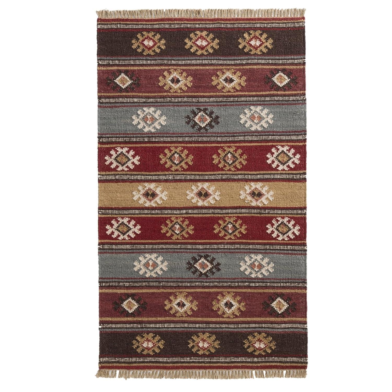 The Indian Arts Zanskar (Indischen Kelim Teppich grau rot beige Farben 80% Wolle 20% Baumwolle 75 x 120 cm