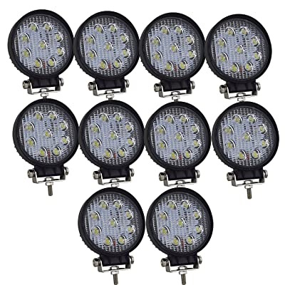 AUXTINGS 10 Pcs 4 inch 27W Spot LED Work Light Bar Off Road Car Driving Lamp for Cabin Boat SUV Truck Car ATV Vehicles Jeep Marin (27W,6000K): Automotive
