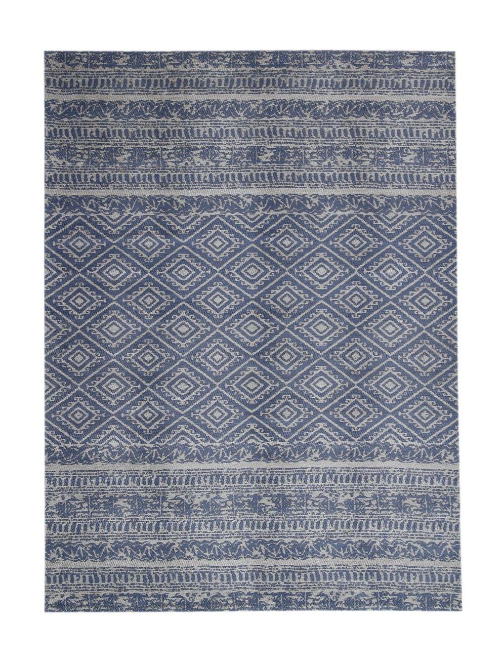 Teppich Wohnzimmer Carpet Geometrie Design Sunny 110 Rug Streifen Rauten Muster Polyester 80x150 cm Blau/Teppiche günstig online kaufen