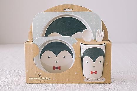 Vajilla bebé Pingüino - Set de 5 piezas y cubertería infatil en melamina y bambú resistente