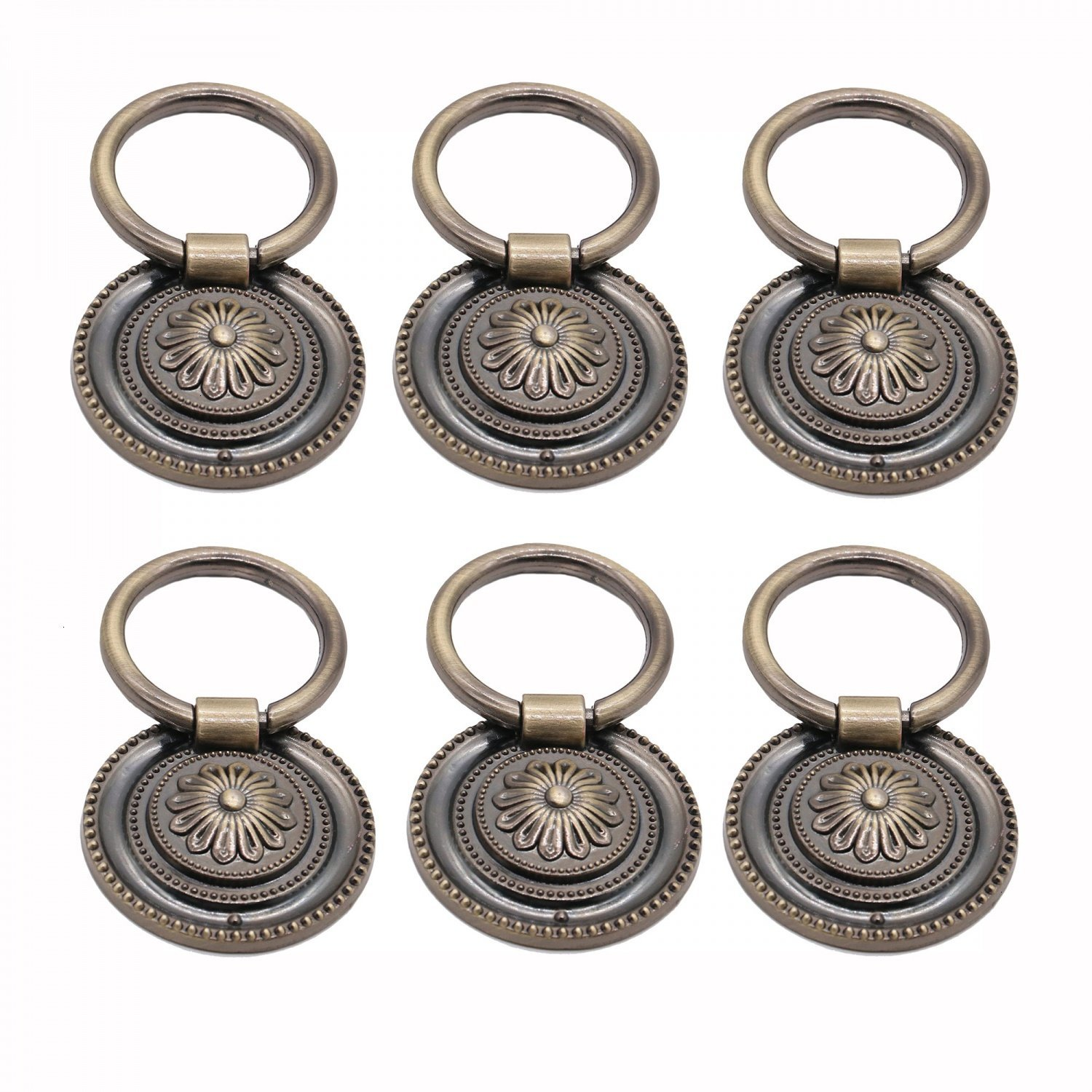 WEFOO 6pcs Kitchen Replacement Antique Copper Cabinet Cupboard Pulls Drawer Dresser Ring Handle Knob