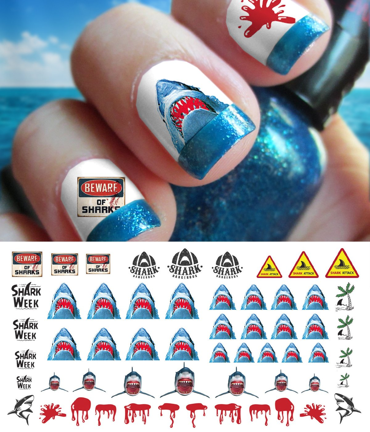 Amazon.com: Great White Shark Set #1 - WaterSlide Nail Art Decals ...