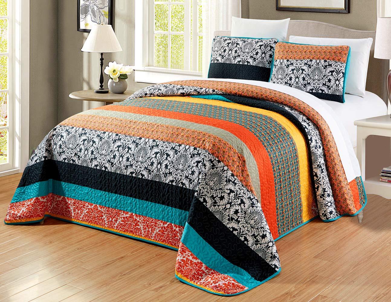 GrandLinen 3-Piece Fine Printed Oversize (115'' X 95'') Quilt Set Reversible Bedspread Coverlet King Size Bed Cover (Multi Color Striped, Blue, Orange, Black, White, Grey)