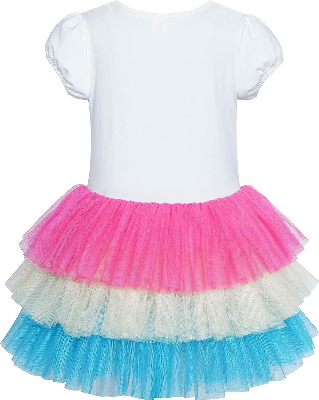 Sunny Fashion Girls Dress Pink Tutu Unicorn Dancing Tiered Skirt Ballet Birthday Party 3-7