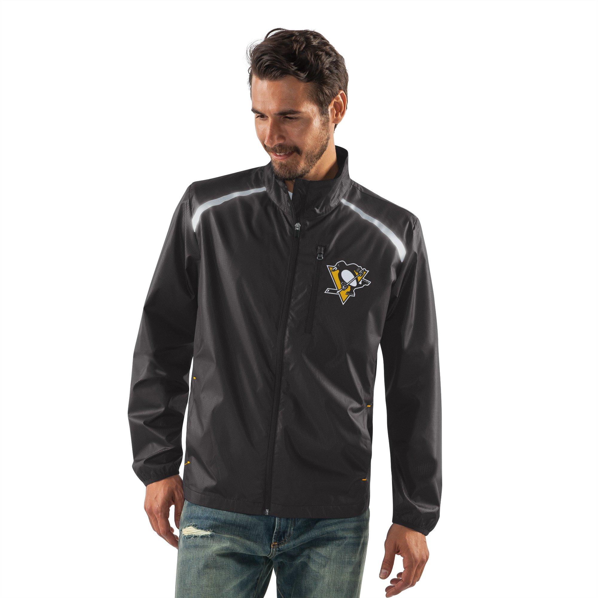 G-III Sports NHL Pittsburgh Penguins Men's Storm Full Zip Packable Jacket, Large, Black