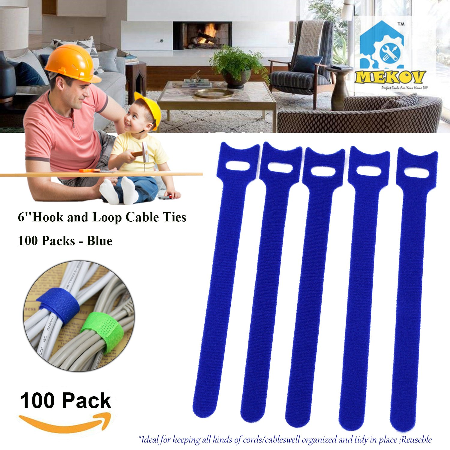 100pc 6 inch Cable Straps, Mekov, Hook and Loop Reusable Fastening Cable Ties Cord Wire Organizer for Home Office Tablet PC TV Wire Management (100 Pack, 6'', Blue)