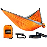 """Double Hammock - 15 Loop 9 FT Adjustable Straps - Lightweight 210T Nylon Hammock - Extra Large 111"""" (L) x 73"""" (W) - Supports up to 600 lbs"""