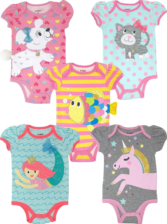 Funstuff Bodys de Sirena, Unicornio, Gato, Pez, Perrito para Bebé Niña, 5 Uds (0-3 Meses)