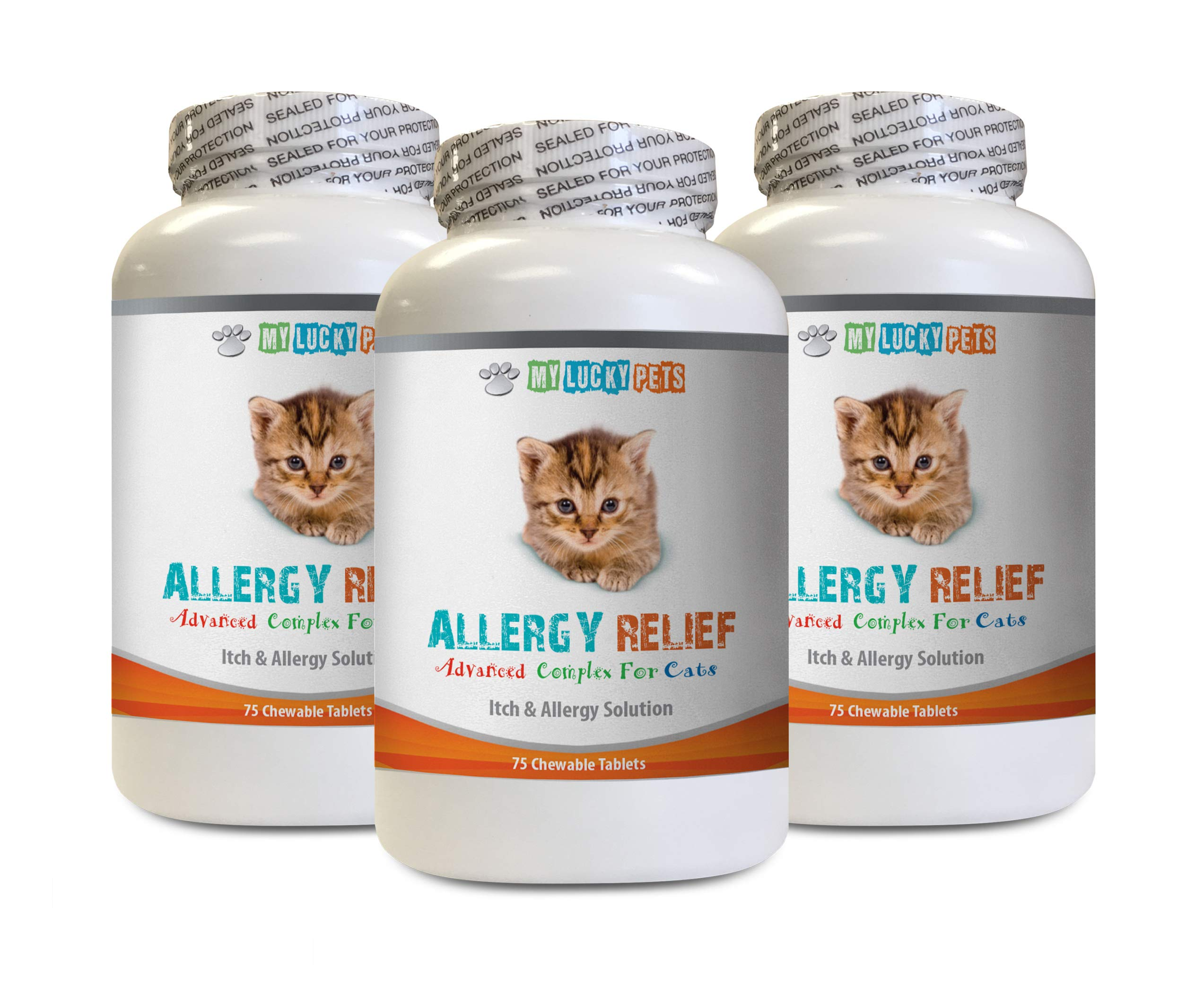 MY LUCKY PETS LLC cat Skin Soother - CAT Allergy Relief Complex - Premium Itch Solution - Immune Booster - cat Turmeric - 3 Bottles (225 Chewable Tablets) by MY LUCKY PETS LLC