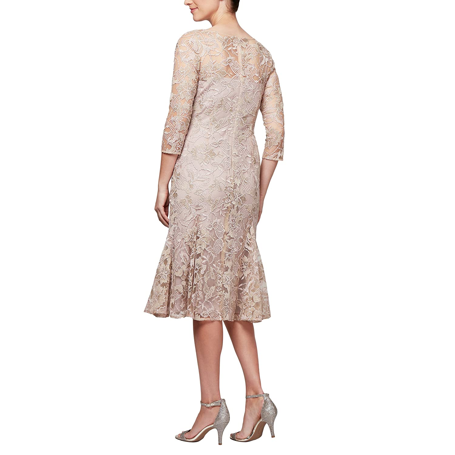 Embroidered Midi Dress At Alex Amazon Evenings Women's Length Party F1TJlKc