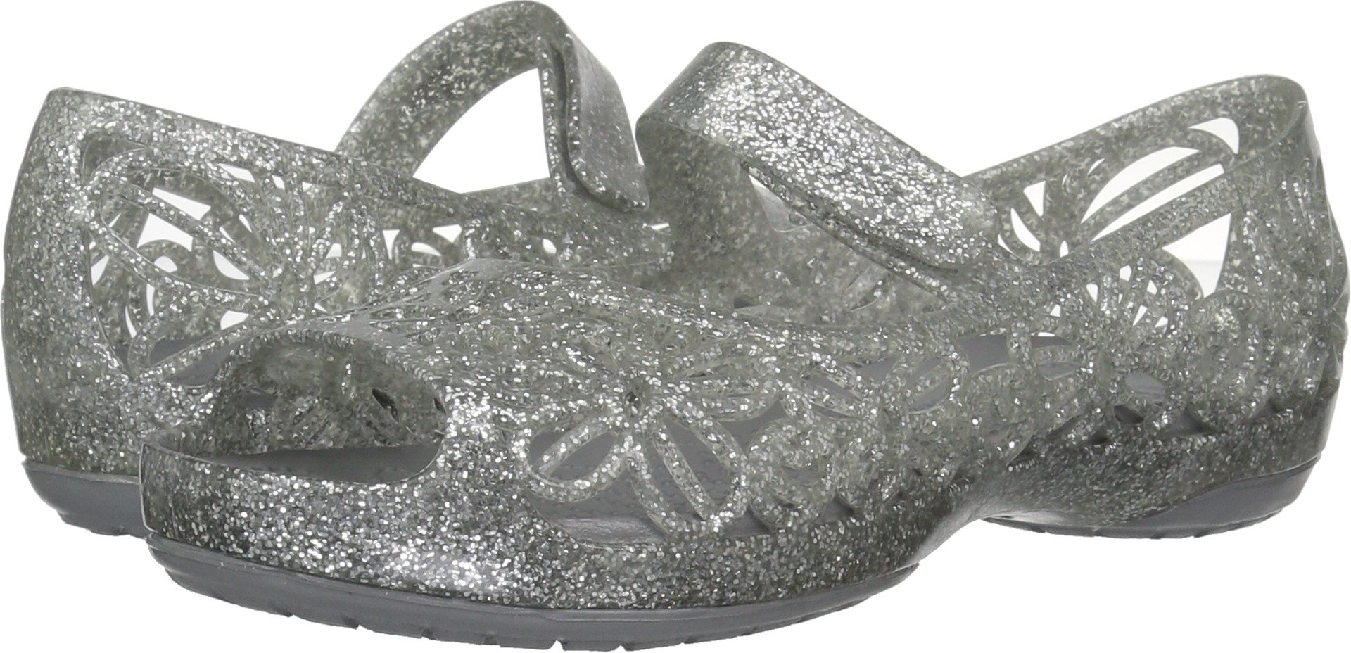 Crocs Girls' Isabella Glitter Ps Ballet Flat, Silver, 11 M US Little Kid